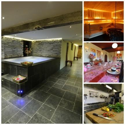 Collage interieur Mess des Officiers jacuzzi sauna eetkamer keuken Ardennen Belvilla vakantiehuizen